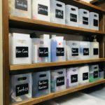 無印風【100均収納ボックス✖️黒板シート】で生活用品をおしゃれに収納